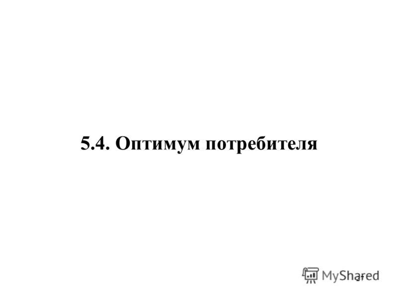 27 5.4. Оптимум потребителя