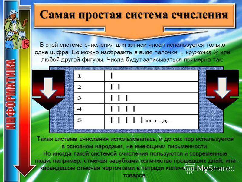 Такая система счисления использовалась, и до сих пор используется в основном народами, не имеющими письменности. Но иногда такой системой счисления пользуются и современные люди, например, отмечая зарубками количество прошедших дней, или карандашом о
