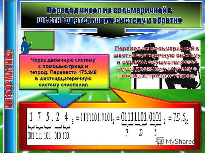 Через двоичную систему с помощью триад и тетрод.Перевести 175.248 в шестнадцатеричную систему счисления Через двоичную систему с помощью триад и тетрод. Перевести 175.248 в шестнадцатеричную систему счисления