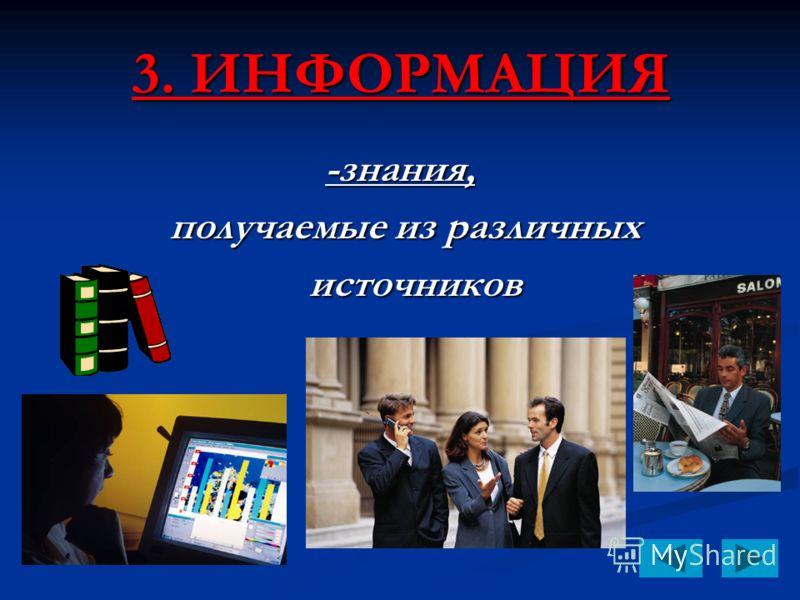 3. ИНФОРМАЦИЯ -знания, получаемые из различных получаемые из различных источников источников