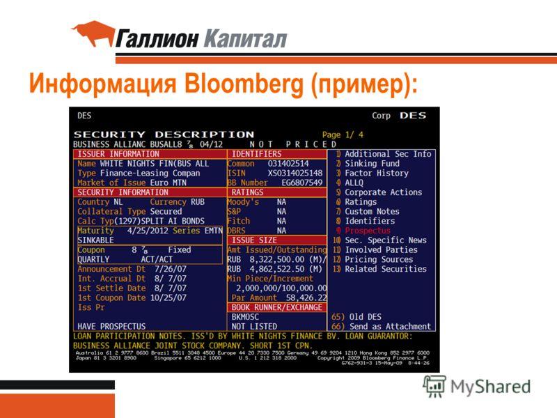 39 Информация Bloomberg (пример):