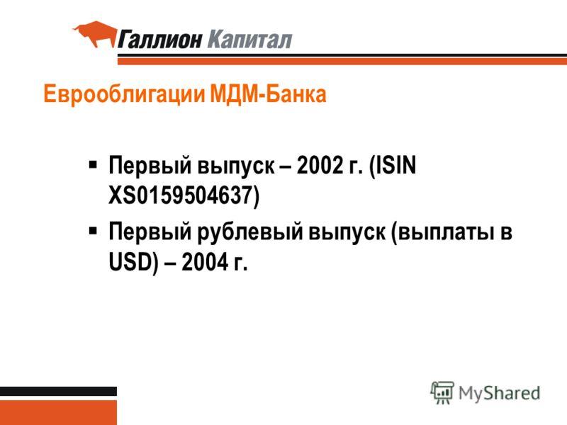 Еврооблигации МДМ-Банка Первый выпуск – 2002 г. (ISIN XS0159504637) Первый рублевый выпуск (выплаты в USD) – 2004 г.