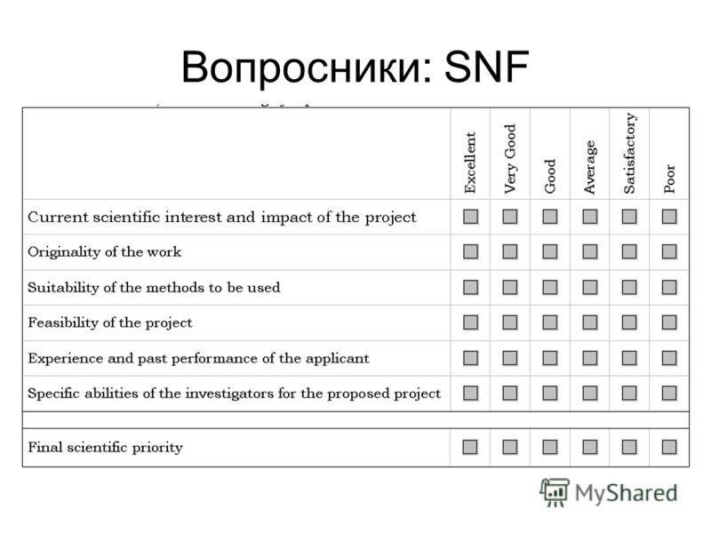Вопросники: SNF