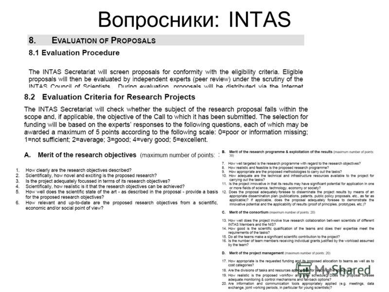 Вопросники: INTAS