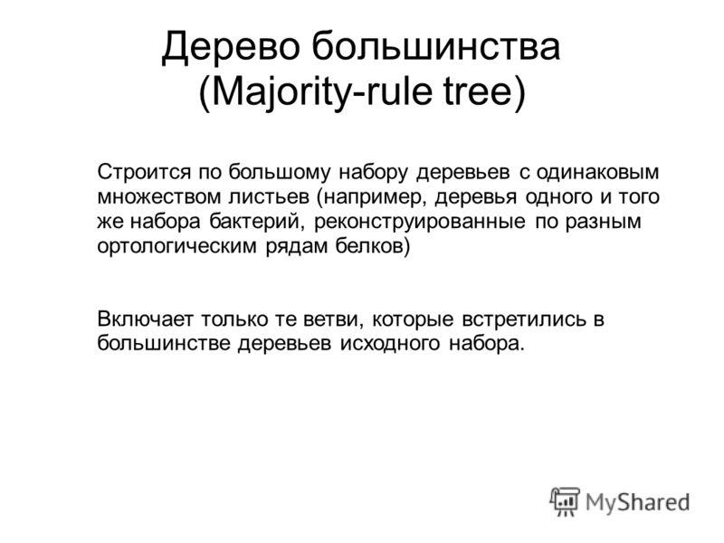 Дерево большинства (Majority-rule tree) Строится по большому набору деревьев с одинаковым множеством листьев (например, деревья одного и того же набора бактерий, реконструированные по разным ортологическим рядам белков) Включает только те ветви, кото