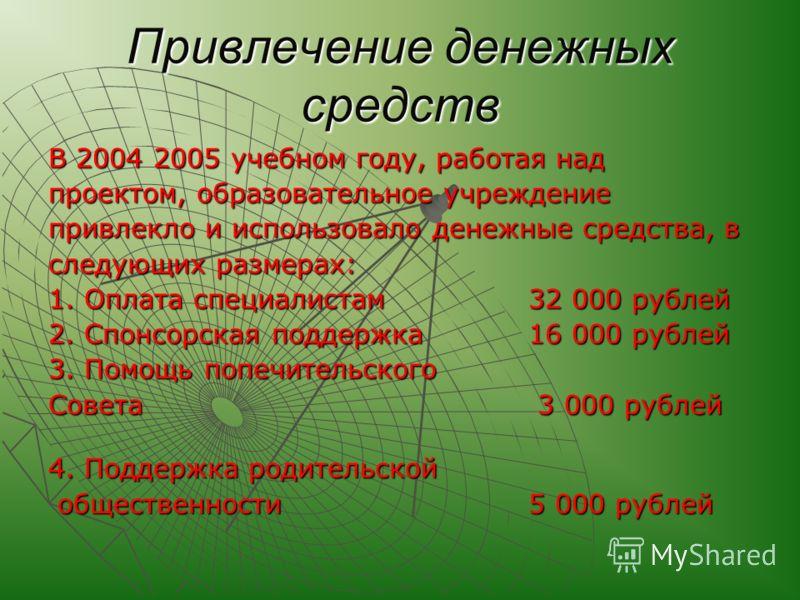 Привлечение денежных средств В 2004 2005 учебном году, работая над проектом, образовательное учреждение привлекло и использовало денежные средства, в следующих размерах: 1. Оплата специалистам 32 000 рублей 2. Спонсорская поддержка 16 000 рублей 3. П