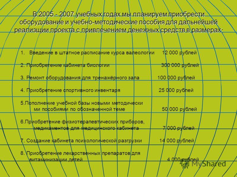 В 2005 - 2007 учебных годах мы планируем приобрести оборудование и учебно-методические пособия для дальнейшей реализщии проекта с привлечением денежных средств в размерах: 1.Введение в штатное расписание курса валеологии 12 000 рублей 2. Приобретение