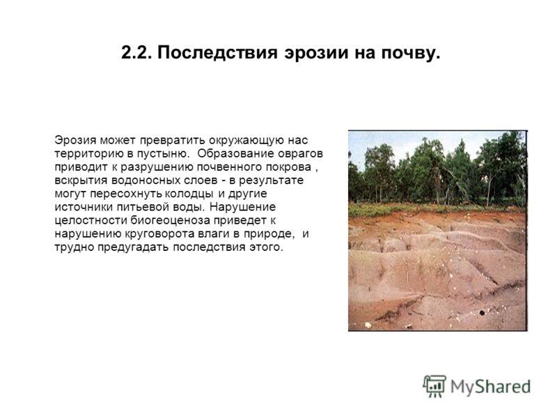 2.2. Последствия эрозии на почву. Эрозия может превратить окружающую нас территорию в пустыню. Образование оврагов приводит к разрушению почвенного покрова, вскрытия водоносных слоев - в результате могут пересохнуть колодцы и другие источники питьево