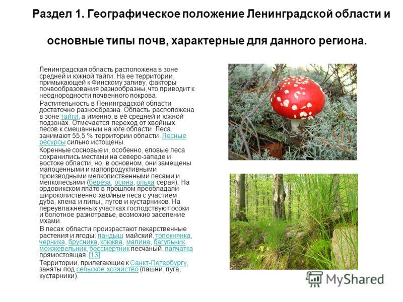 Раздел 1. Географическое положение Ленинградской области и основные типы почв, характерные для данного региона. Ленинградская область расположена в зоне средней и южной тайги. На ее территории, примыкающей к Финскому заливу, факторы почвообразования