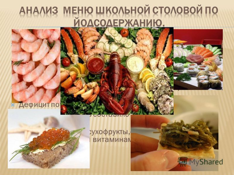 Охват горячим питанием учащихся СОШ 48 - 75 %, что недостаточно. По данным литературы употребление морепродуктов должно быть не реже 2-3 раз в неделю. В нашем меню рыба включена один раз. Явный дефицит потребления фруктов (примерно 50% от физиологиче