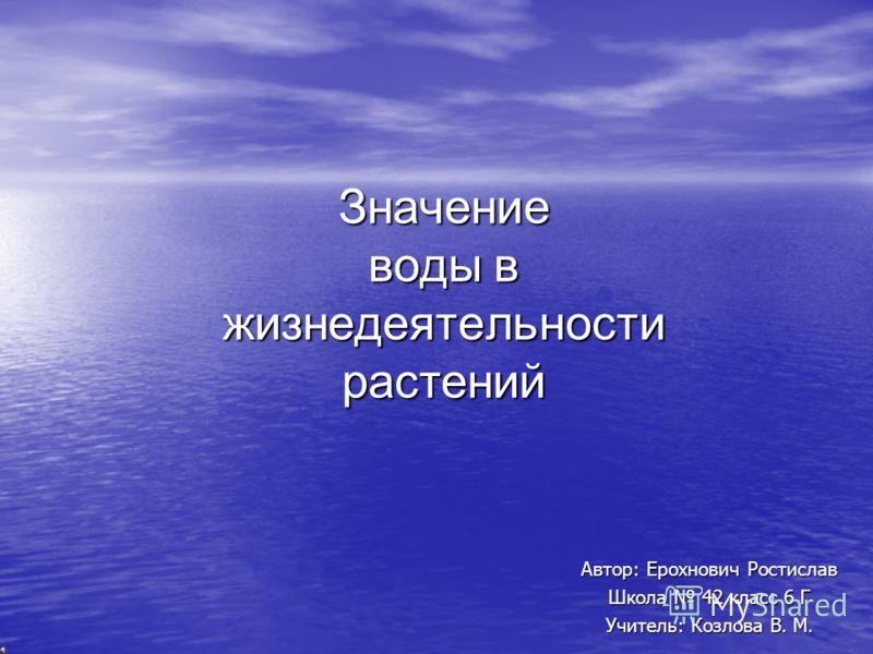 Значение воды в жизнедеятельности растений Автор: Ерохнович Ростислав Школа 42 класс 6 Г Учитель: Козлова В. М.