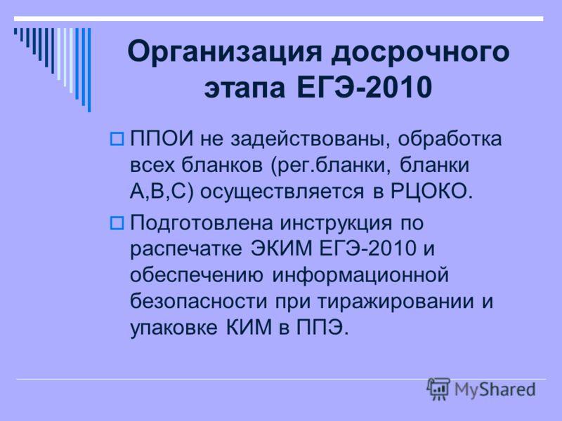 Организация досрочного этапа ЕГЭ-2010 ППОИ не задействованы, обработка всех бланков (рег.бланки, бланки А,В,С) осуществляется в РЦОКО. Подготовлена инструкция по распечатке ЭКИМ ЕГЭ-2010 и обеспечению информационной безопасности при тиражировании и у