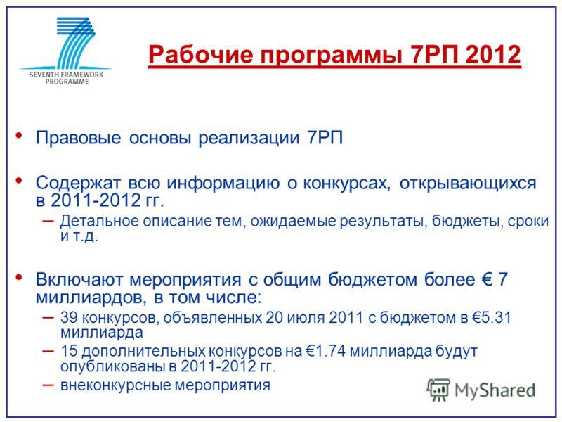 Рабочие программы 7РП 2012 Правовые основы реализации 7РП Содержат всю информацию о конкурсах, открывающихся в 2011-2012 гг. – Детальное описание тем, ожидаемые результаты, бюджеты, сроки и т.д. Включают мероприятия с общим бюджетом более 7 миллиардо