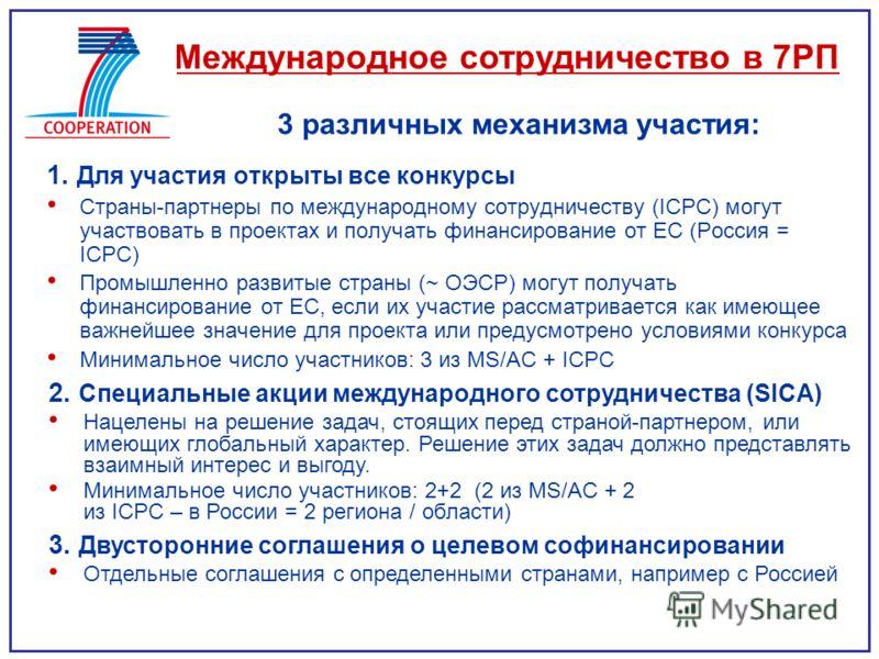 1. Для участия открыты все конкурсы Страны-партнеры по международному сотрудничеству (ICPC) могут участвовать в проектах и получать финансирование от ЕС (Россия = ICPC) Промышленно развитые страны (~ ОЭСР) могут получать финансирование от ЕС, если их