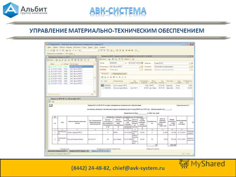 УПРАВЛЕНИЕ МАТЕРИАЛЬНО-ТЕХНИЧЕСКИМ ОБЕСПЕЧЕНИЕМ (8442) 24-48-82, chief@avk-system.ru