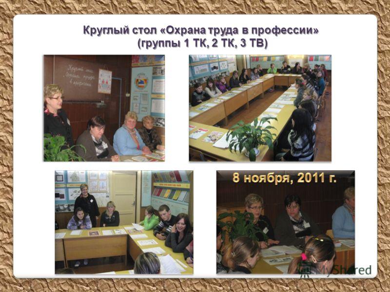 Круглый стол «Охрана труда в профессии» (группы 1 ТК, 2 ТК, 3 ТВ) (группы 1 ТК, 2 ТК, 3 ТВ)