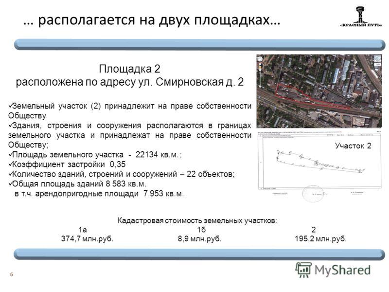 6 … располагается на двух площадках … Площадка 2 расположена по адресу ул. Смирновская д. 2 Земельный участок (2) принадлежит на праве собственности Обществу Здания, строения и сооружения располагаются в границах земельного участка и принадлежат на п