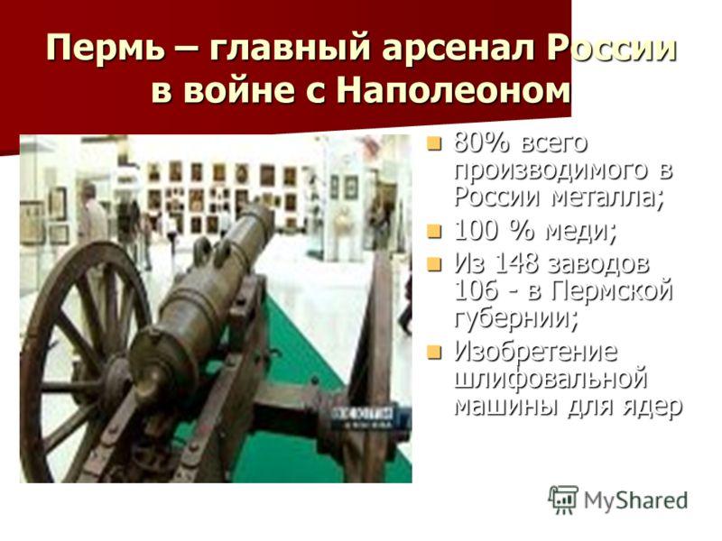 Пермь – главный арсенал России в войне с Наполеоном 80% всего производимого в России металла; 80% всего производимого в России металла; 100 % меди; 100 % меди; Из 148 заводов 106 - в Пермской губернии; Из 148 заводов 106 - в Пермской губернии; Изобре