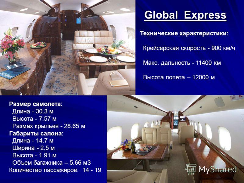 Технические характеристики: Крейсерская скорость - 755 км/ч Макс. дальность - 5000 км Высота полета – 10700 м Размер самолета: Длина - 29.4 м Высота - 7.9 м Размах крыльев - 28.5 м Габариты салона: Длина - 25.93 м Ширина - 3.05 м Высота – 2.1 м Объем