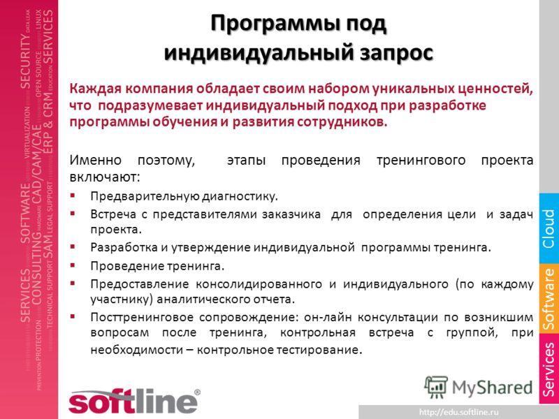 http://edu.softline.ru Software Cloud Services Программы под индивидуальный запрос Каждая компания обладает своим набором уникальных ценностей, что подразумевает индивидуальный подход при разработке программы обучения и развития сотрудников. Именно п
