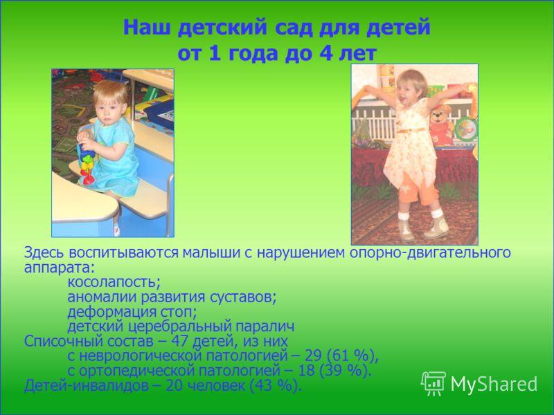 Наш детский сад для детей от 1 года до 4 лет Здесь воспитываются малыши с нарушением опорно-двигательного аппарата: косолапость; аномалии развития суставов; деформация стоп; детский церебральный паралич Списочный состав – 47 детей, из них с неврологи