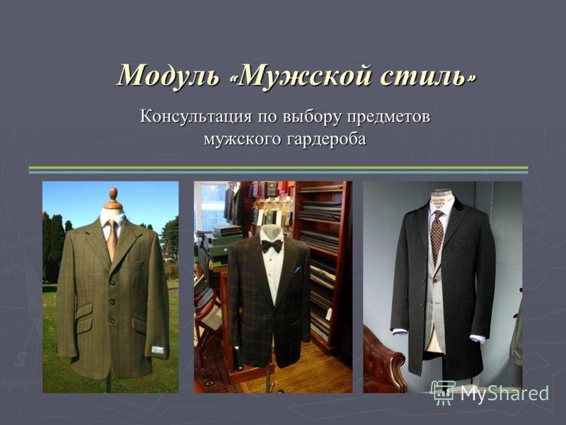 Модуль « Мужской стиль » Консультация по выбору предметов мужского гардероба