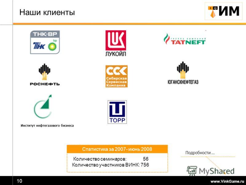 www.VinkGame.ru 10 Наши клиенты Подробности … Количество семинаров: 56 Количество участников ВИНК: 756 Статистика за 2007- июнь 2008 Институт нефтегазового бизнеса