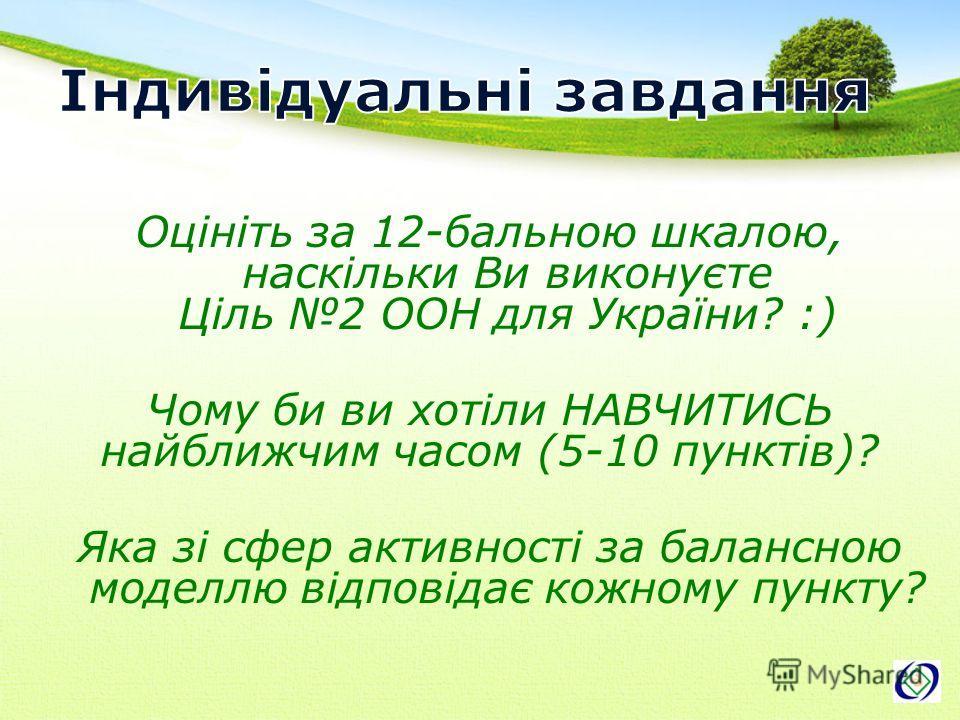 Оцініть за 12-бальною шкалою, наскільки Ви виконуєте Ціль 2 ООН для України? :) Чому би ви хотіли НАВЧИТИСЬ найближчим часом (5-10 пунктів)? Яка зі сфер активності за балансною моделлю відповідає кожному пункту?