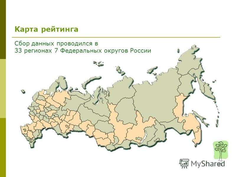 10 Карта рейтинга Сбор данных проводился в 33 регионах 7 Федеральных округов России
