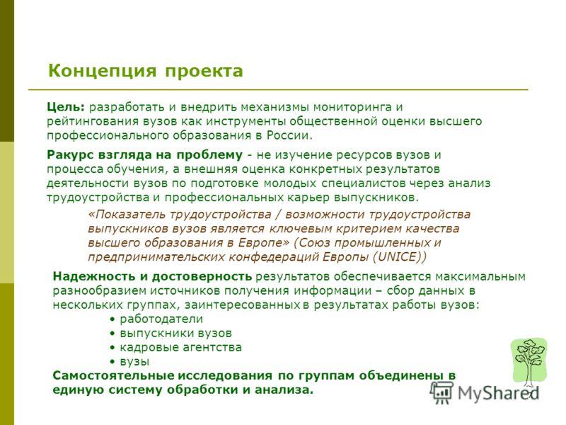 7 Цель: разработать и внедрить механизмы мониторинга и рейтингования вузов как инструменты общественной оценки высшего профессионального образования в России. Ракурс взгляда на проблему - не изучение ресурсов вузов и процесса обучения, а внешняя оцен