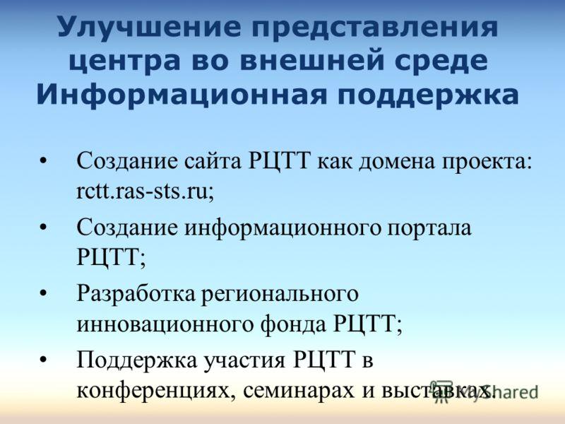 Улучшение представления центра во внешней среде Информационная поддержка Создание сайта РЦТТ как домена проекта: rctt.ras-sts.ru; Создание информационного портала РЦТТ; Разработка регионального инновационного фонда РЦТТ; Поддержка участия РЦТТ в конф
