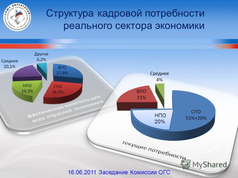 Структура кадровой потребности реального сектора экономики НПО 20% 12 16.06.2011 Заседание Комиссии ОГС