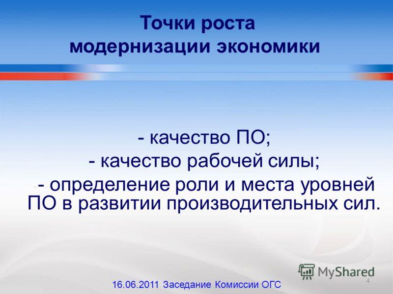 - качество ПО; - качество рабочей силы; - - определение роли и места уровней ПО в развитии производительных сил. Точки роста модернизации экономики 4 16.06.2011 Заседание Комиссии ОГС