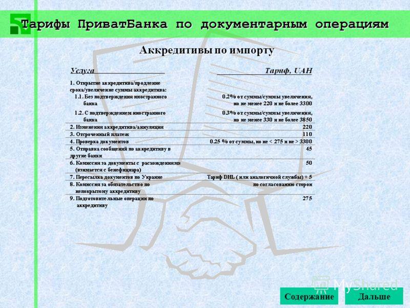 Тарифы ПриватБанка по документарным операциям Содержание Аккредитивы по импорту Дальше
