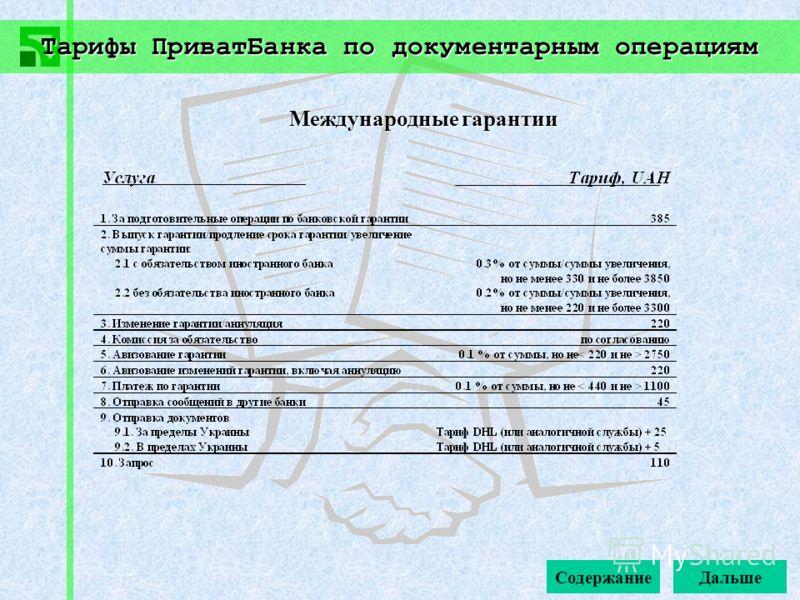 Тарифы ПриватБанка по документарным операциям Содержание Международные гарантии Дальше