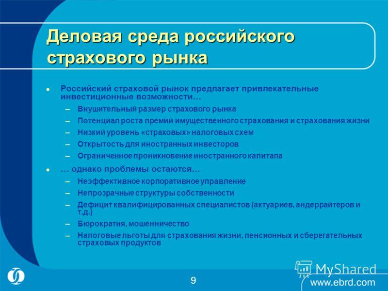 Деловая среда российского страхового рынка Российский страховой рынок предлагает привлекательные инвестиционные возможности… –Внушительный размер страхового рынка –Потенциал роста премий имущественного страхования и страхования жизни –Низкий уровень