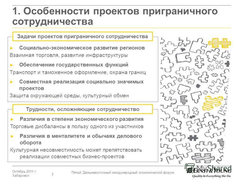 Октябрь 2011 г. Хабаровск Пятый Дальневосточный международный экономический форум 3 1. Особенности проектов приграничного сотрудничества Социально-экономическое развитие регионов Взаимная торговля, развитие инфраструктуры Обеспечение государственных