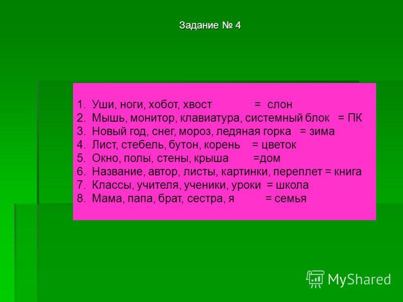 1.Уши, ноги, хобот, хвост = слон 2.Мышь, монитор, клавиатура, системный блок = ПК 3.Новый год, снег, мороз, ледяная горка = зима 4.Лист, стебель, бутон, корень = цветок 5.Окно, полы, стены, крыша =дом 6.Название, автор, листы, картинки, переплет = кн