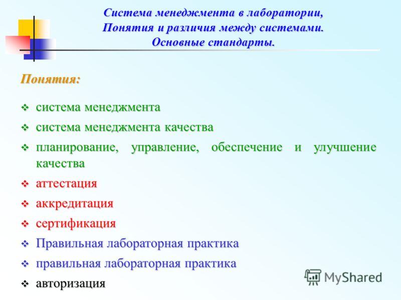 Система менеджмента в лаборатории, Понятия и различия между системами. Основные стандарты. Понятия: система менеджмента система менеджмента система менеджмента качества система менеджмента качества планирование, управление, обеспечение и улучшение ка
