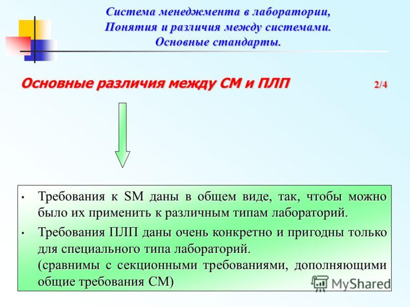 Основные различия между СМ и ПЛП 2/4 Требования к SM даны в общем виде, так, чтобы можно было их применить к различным типам лабораторий. Требования к SM даны в общем виде, так, чтобы можно было их применить к различным типам лабораторий. Требования