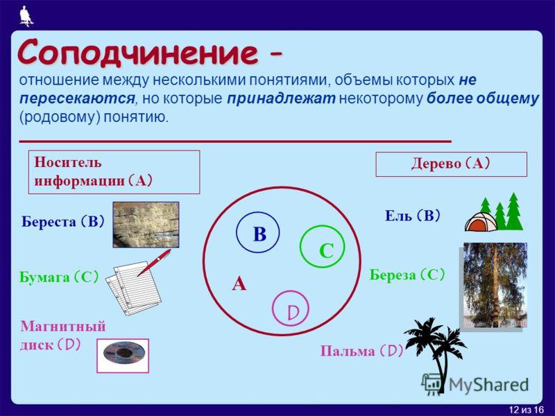 12 из 16 Соподчинение - отношение между несколькими понятиями, объемы которых не пересекаются, но которые принадлежат некоторому более общему (родовому) понятию. А В С D Носитель информации (А) Береста (В) Бумага (С) Магнитный диск (D) Дерево (А) Ель