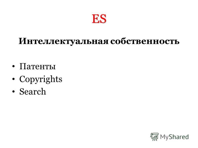 ES Интеллектуальная собственность Патенты Copyrights Search