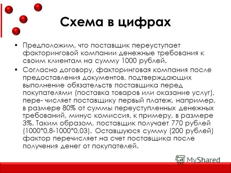 Схема в цифрах Предположим, что поставщик переуступает факторинговой компании денежные требования к своим клиентам на сумму 1000 рублей. Согласно договору, факторинговая компания после предоставления документов, подтверждающих выполнение обязательств