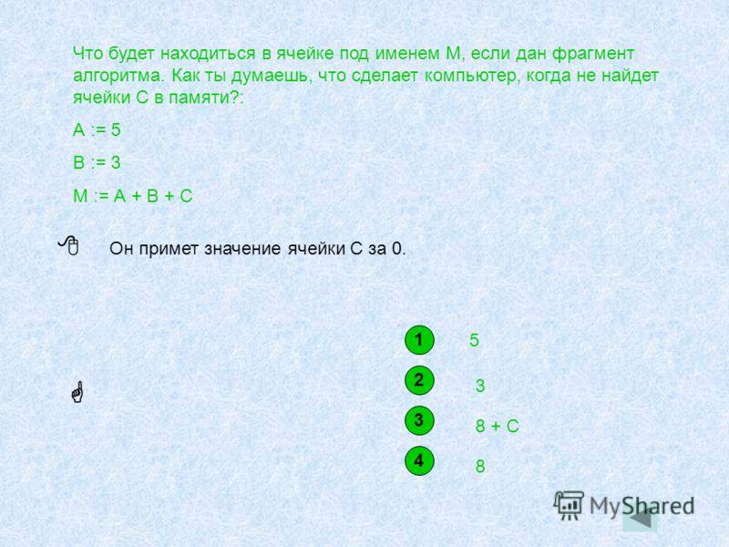 Что будет находиться в ячейке под именем М, если дан фрагмент алгоритма. Как ты думаешь, что сделает компьютер, когда не найдет ячейки С в памяти?: А := 5 В := 3 М := А + В + С 1 5 2 3 3 8 + С 4 8 Он примет значение ячейки С за 0.