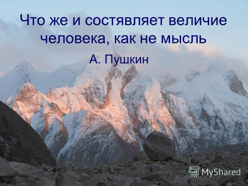 Что же и состявляет величие человека, как не мысль А. Пушкин
