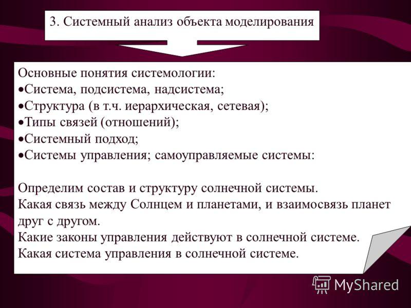 3. Системный анализ объекта моделирования Основные понятия системологии: Система, подсистема, надсистема; Структура (в т.ч. иерархическая, сетевая); Типы связей (отношений); Системный подход; Системы управления; самоуправляемые системы: Определим сос