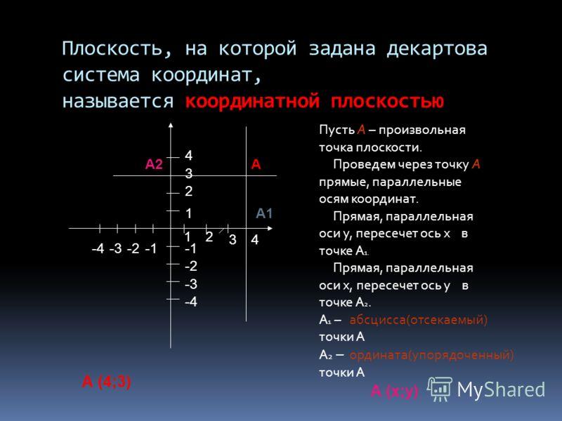Плоскость, на которой задана декартова система координат, называется координатной плоскостью Пусть А – произвольная точка плоскости. Проведем через точку А прямые, параллельные осям координат. Прямая, параллельная оси у, пересечет ось х в точке А 1.