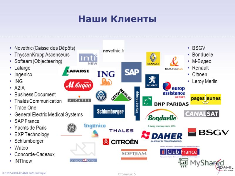 © 1997-2008 ADAMIL Informatique Страница : 5 Наши Клиенты Novethic (Caisse des Dépôts) ThyssenKrupp Ascenseurs Softeam (Objecteering) Lafarge Ingenico ING A2IA Business Document Thalès Communication Trace One General Electric Medical Systems SAP Fran