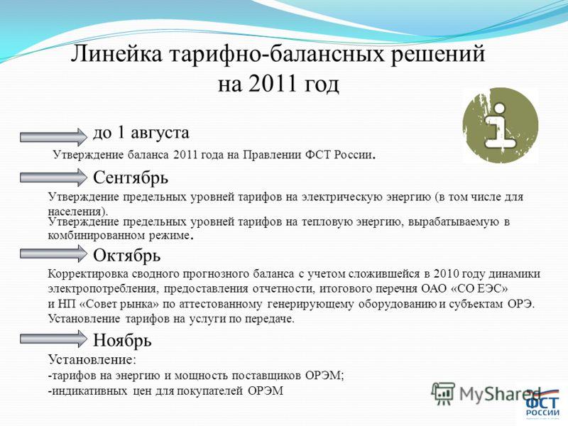 Линейка тарифно-балансных решений на 2011 год до 1 августа Утверждение баланса 2011 года на Правлении ФСТ России. Сентябрь Утверждение предельных уровней тарифов на электрическую энергию (в том числе для населения). Утверждение предельных уровней тар