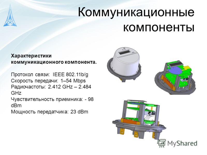 Коммуникационные компоненты Характеристики коммуникационного компонента. Протокол связи: IEEE 802.11b/g Скорость передачи: 1–54 Mbps Радиочастоты: 2.412 GHz – 2.484 GHz Чувствительность приемника: - 98 dBm Мощность передатчика: 23 dBm